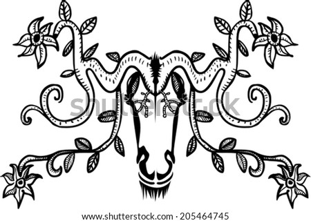 Ornamental decorative deer with flowers - stock vector