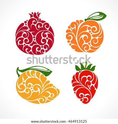 Ornamental decorative fruit symbol icons set. Emblem pomegranate, Strawberry, peach, mango color vector illustration isolated on white background