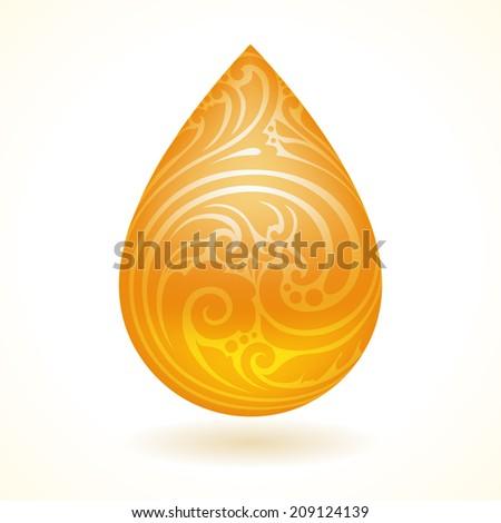 Ornamental decorative oil drop. Vector illustration  - stock vector