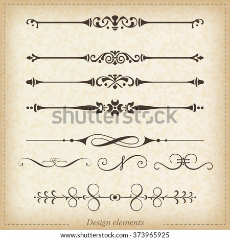 Ornamental dividers and ornaments. Vector illustration. - stock vector
