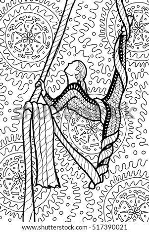 ornamental doodle drawing of air gymnastic girl