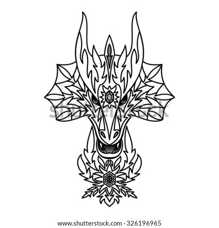 Ornamental Dragon. Vector illustration for  textile prints, tattoo, web and graphic design - stock vector