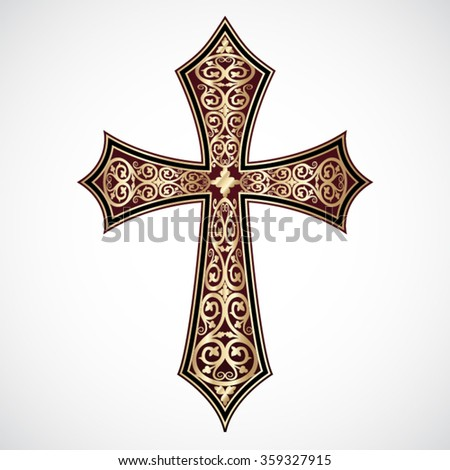 ornamental elegant golden cross / vector illustration - stock vector