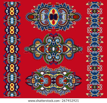 ornamental ethnic decorative floral adornment, vector illustration on red background - stock vector