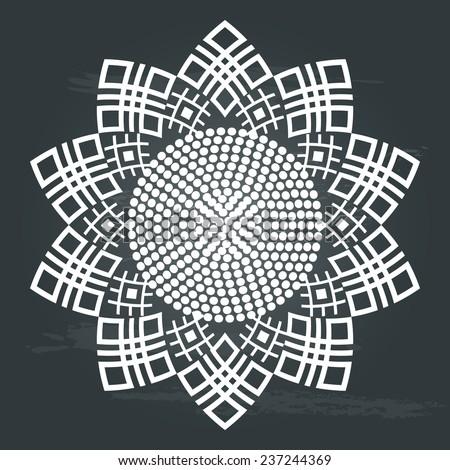 Ornamental ethnic pattern. Art image of sunflower in white on chalkboard background. Vector illustration   - stock vector