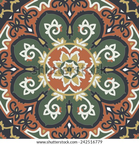 Ornamental ethnicity pattern in warm colors. The circular arrangement of stalks and leaves. Ornament of the dark contrasting dark green and ginger terracotta items. - stock vector