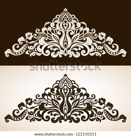 Ornamental floral element in vintage style - stock vector