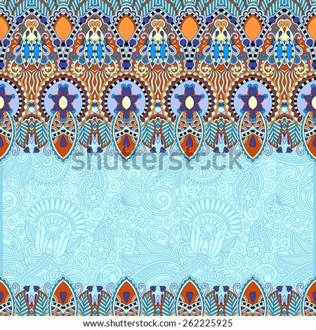 ornamental floral folkloric background for invitation, cover design, fabric pattern or page decoration, ethnic border on vintage flower background in blue color - stock vector