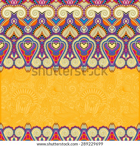 ornamental floral yellow background for invitation, cover design, fabric pattern or page decoration, ethnic border on vintage flower background, vector illustration - stock vector