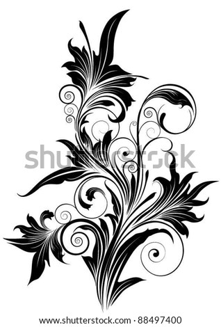 Ornamental flower.Detailed floral design ornaments, black colored.Each element easily regroup. - stock vector