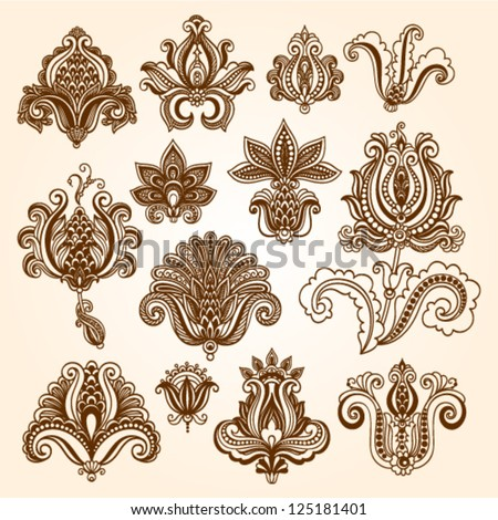 Ornamental flowers. Vector set with floral elements in vintage style. Indian mendie - stock vector