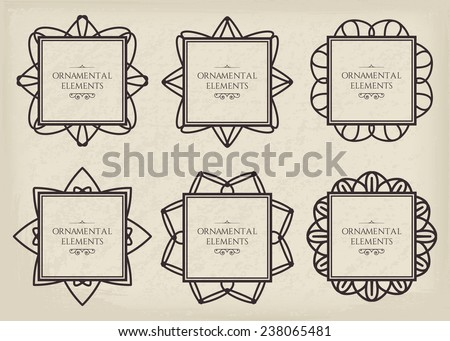 Ornamental frame collection. Vector set of page decorations