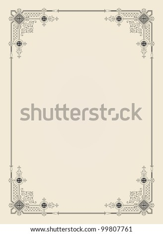ornamental  frame vintage in editable vector file - stock vector
