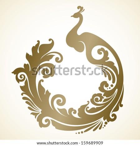 Ornamental frame with decorative bird  - stock vector