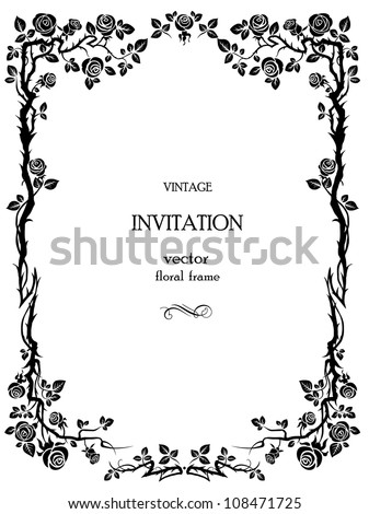 Ornamental frame with roses - stock vector