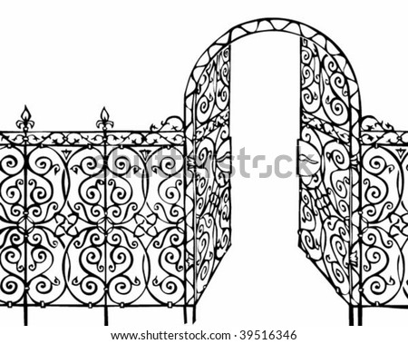 ornamental gate and fence illustration - stock vector