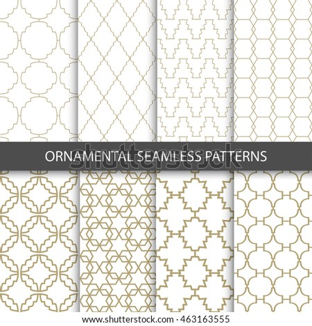 Ornamental grid patterns in vintage style - seamless vector collection. Luxury design.