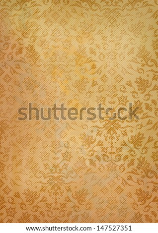 Ornamental Grunge Seamless Pattern On Vintage Old Paper Background Abstract Vector Retro Wallpaper Backdrop