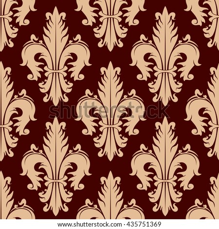 Ornamental heraldic fleur-de-lis seamless pattern with lush compositions of beige curly leaves on maroon background. Vintage wallpaper or upholstery design - stock vector