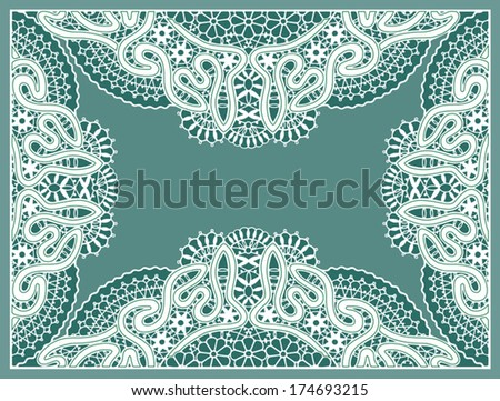 Ornamental lace pattern, abstract decoration, vector fabric with flowers, border design element, hand drawn sketch, ornate detailed background - stock vector
