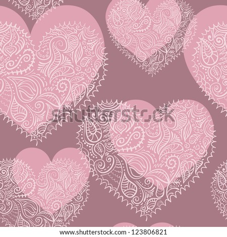 ornamental lacy hearts vector seamless pattern added to swatches - stock vector