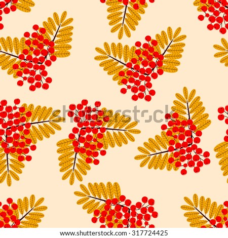 Ornamental leaves and berries of mountain ash. Seamless abstract vector illustration - stock vector