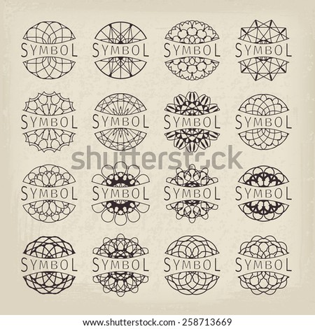 Ornamental logo template set. Vector vintage symbols - stock vector