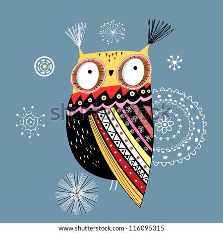 ornamental owl - stock vector