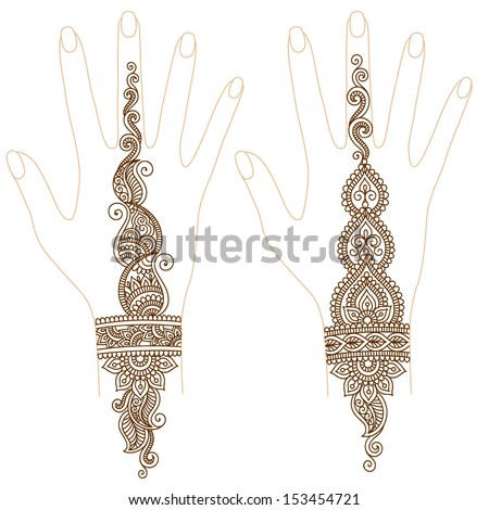 Ornamental pattern for hand, elements in indian style - stock vector