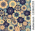 Ornamental pattern with rosette flowers. Seamless background in vintage colors. Vector illustration. - stock photo