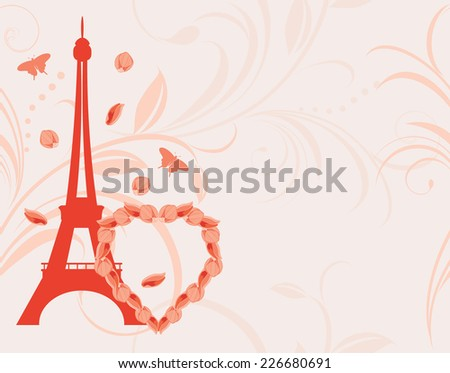 Ornamental pink background with floral heart and Eiffel tower. Vector - stock vector
