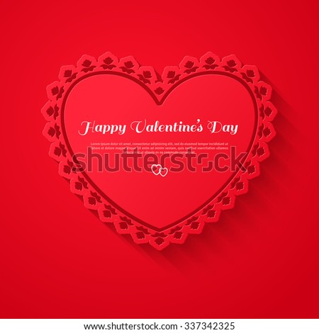 Ornamental red heart frame with shadow on red background. Vector illustration. Valentines day decorative greeting card with place for text. Wedding patterned frame. Happy Valentines Day Template. - stock vector