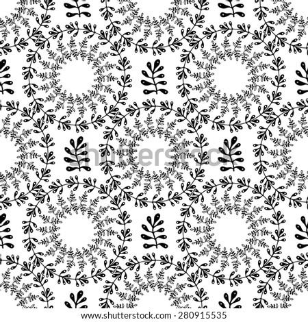 Ornamental round floral background. Seamless pattern with leaves for your design wallpapers, pattern fills, web page backgrounds, surface textures.  - stock vector