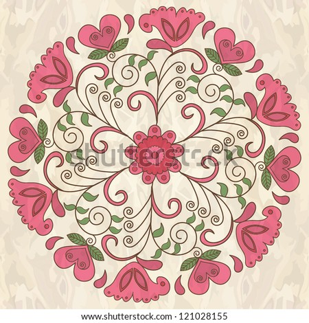 Ornamental round floral lace pattern. - stock vector