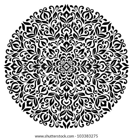 Ornamental round floral pattern - stock vector