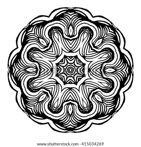 Ornamental round floral pattern.Mandala.Vector Ethnic Oriental Circle Ornament.Round lace napkin.Image for adult and children coloring books,pages,tattoo,adult coloring book, shirt design,decorate  - stock vector