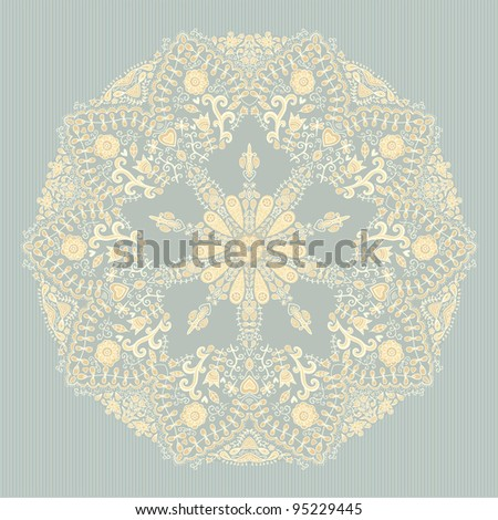 Ornamental round lace pattern. Background for celebrations, holidays, sewing, arts, crafts, scrapbooks, setting table, cake decorating. Lace doily.