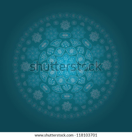 Ornamental round lace pattern, circle background with many details eps 10 - stock vector