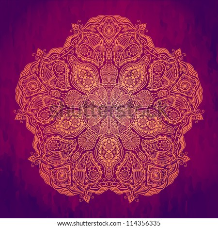 Ornamental round lace pattern, circle background with many details, looks like crocheting handmade lace on grunge background, lacy arabesque designs. Orient traditional ornament. Oriental motif - stock vector