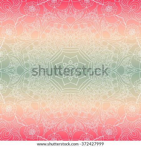 Ornamental round lace pattern, circle background with many details, looks like crocheting handmade lace. White Mandala. Spring colors, gradient. Seamless pattern. Vector.  - stock vector