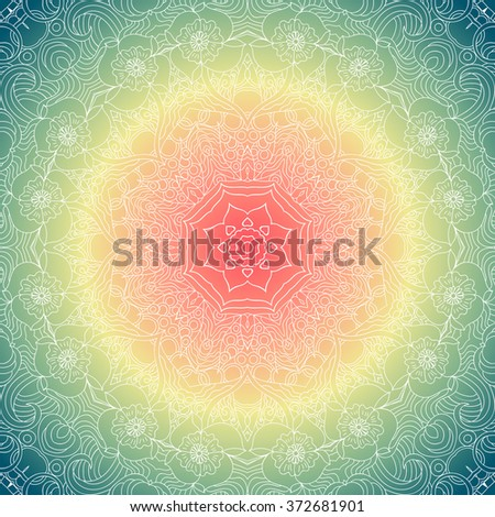Ornamental round lace pattern, circle background with many details, looks like crocheting handmade lace. White Mandala. Rainbow colors, gradient. Seamless pattern. Vector. - stock vector