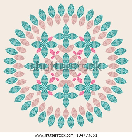 ornamental round lace pattern of leaves and petals. - stock vector