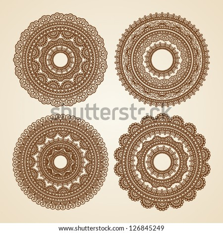 Ornamental round lace pattern with doodle elements - stock vector