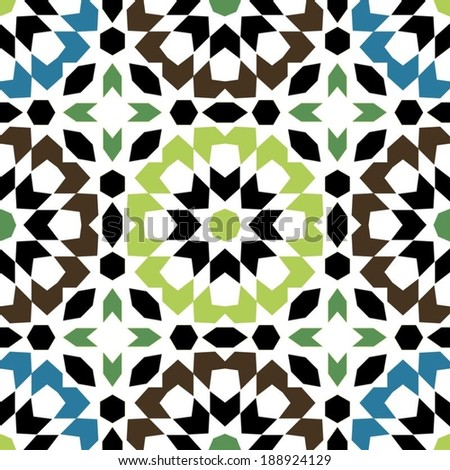 Ornamental round morocco seamless pattern. Orient traditional ornament. Oriental motif. Flat. Moroccan tile. - stock vector