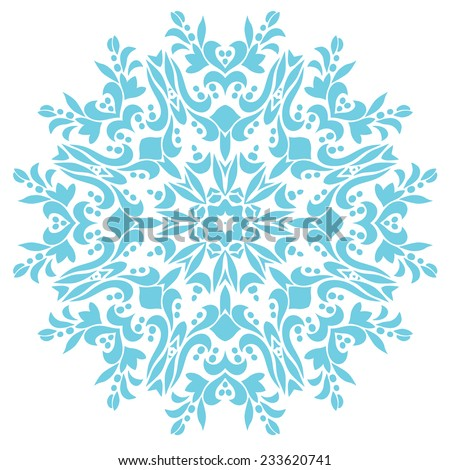 Ornamental round pattern. Blue mandala isolated on white.Vector element for your design - stock vector