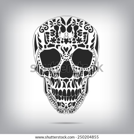 Ornamental scull as abstract floral illustration on background for design. Vector - stock vector
