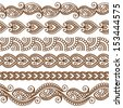 Ornamental seamless borders. Vector set with abstract floral elements in indian style - stock