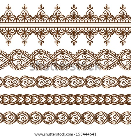 Ornamental seamless borders. Vector set with abstract floral elements in indian style - stock vector
