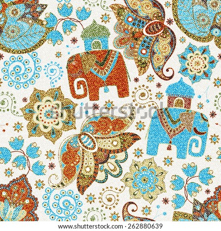 Ornamental seamless pattern, effect jeans texture. Floral wallpaper with decorative elephants, ornamental background - stock vector