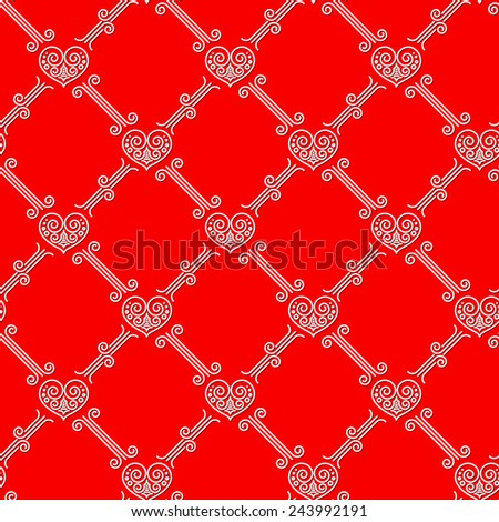 Ornamental seamless pattern with hearts on red background - stock vector